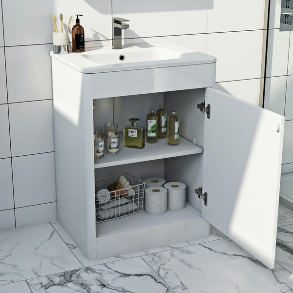 Mode Carter ice white vanity unit and basin 600mm
