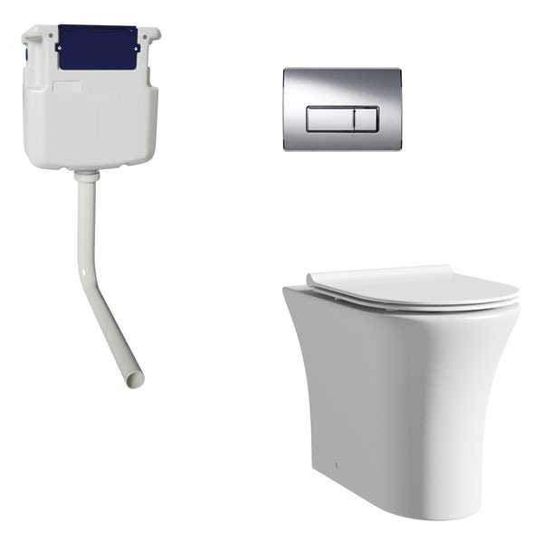Mode Hardy rimless back to wall toilet with slim soft close seat, concealed cistern and push plate
