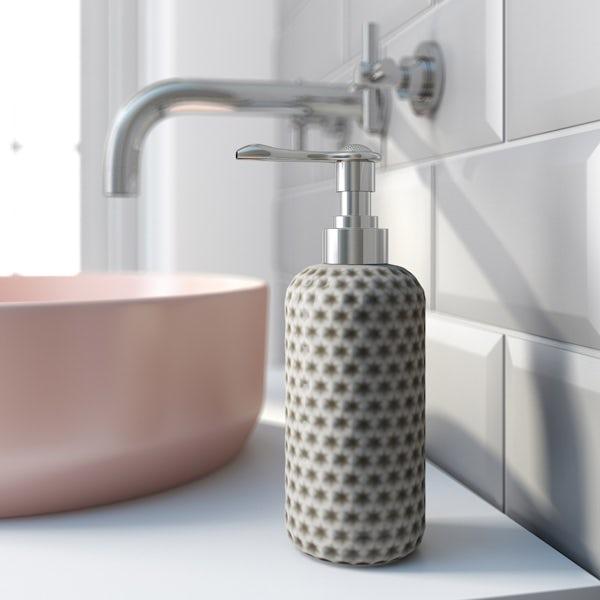 Accents grey polka dot soap dispenser
