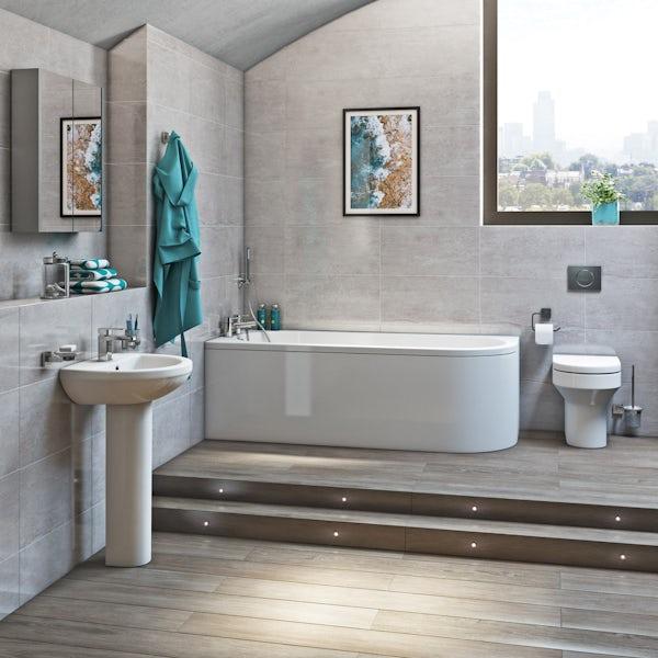 Orchard Elsdon left handed J shaped single ended bath 1700 x 750
