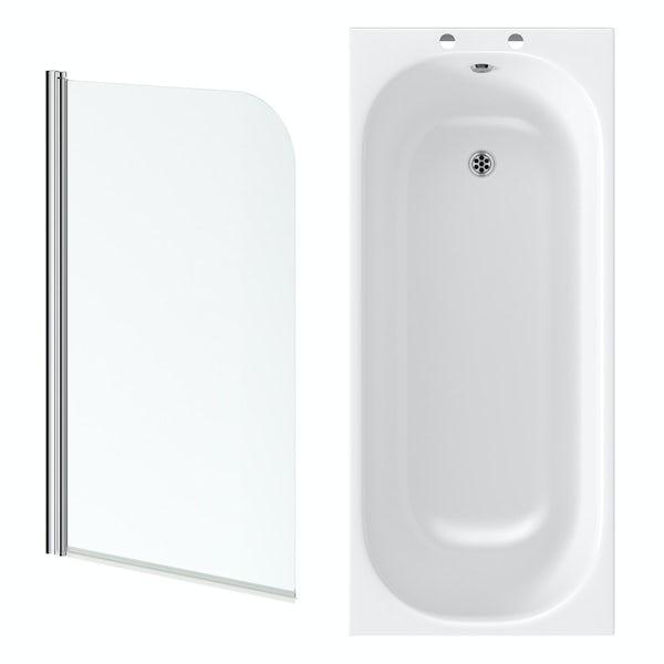 Kirke single ended steel shower bath with 6mm shower bath screen