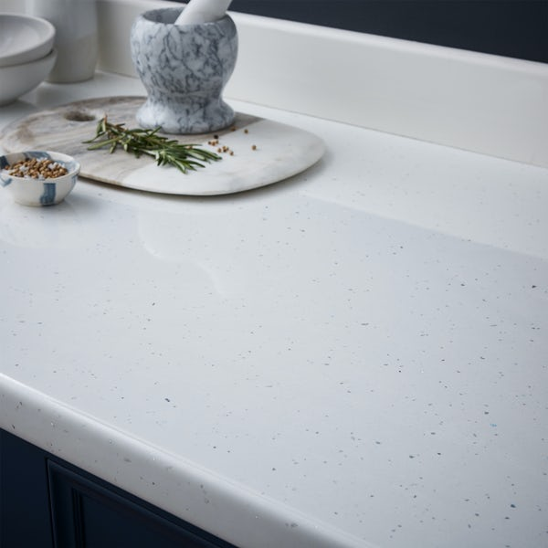 Oasis 18mm 3000 x 100 white sparkle upstand