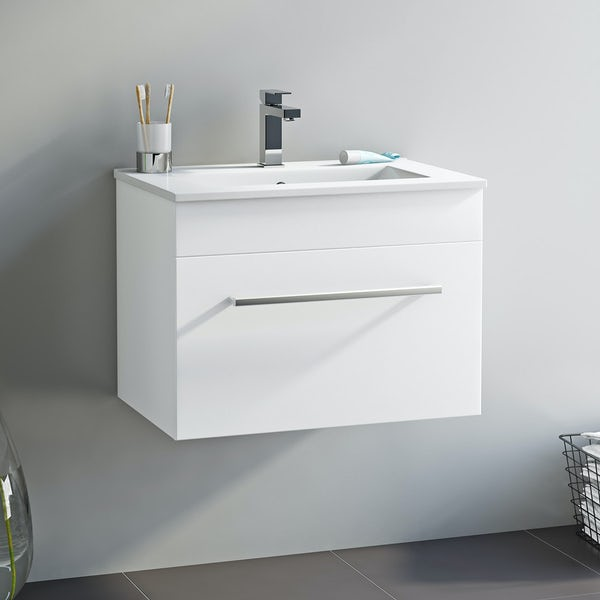 Derwent wall hung vanity drawer unit and basin 600mm