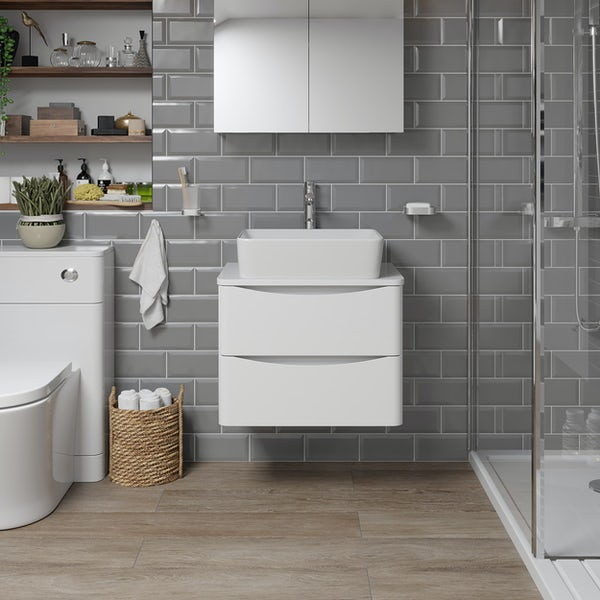 Mode Adler white 600mm wall hung vanity unit and countertop