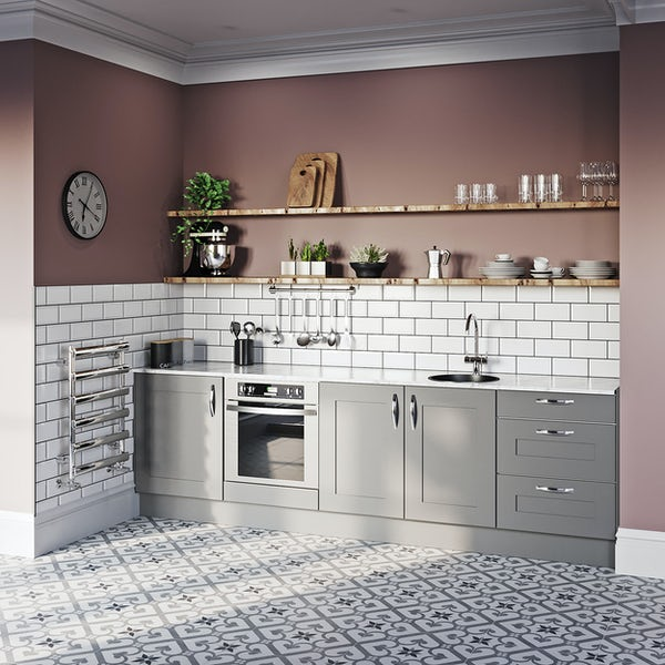 Schon New England light grey shaker kitchen base unit bundle