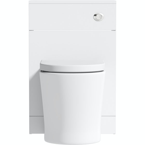 Orchard Elsdon white slimline back to wall unit and contemporary toilet with soft close seat