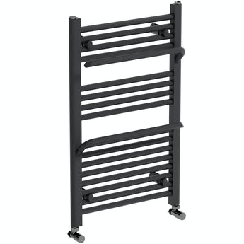 The Heating Co. Rohe anthracite grey heated towel rail with hangers