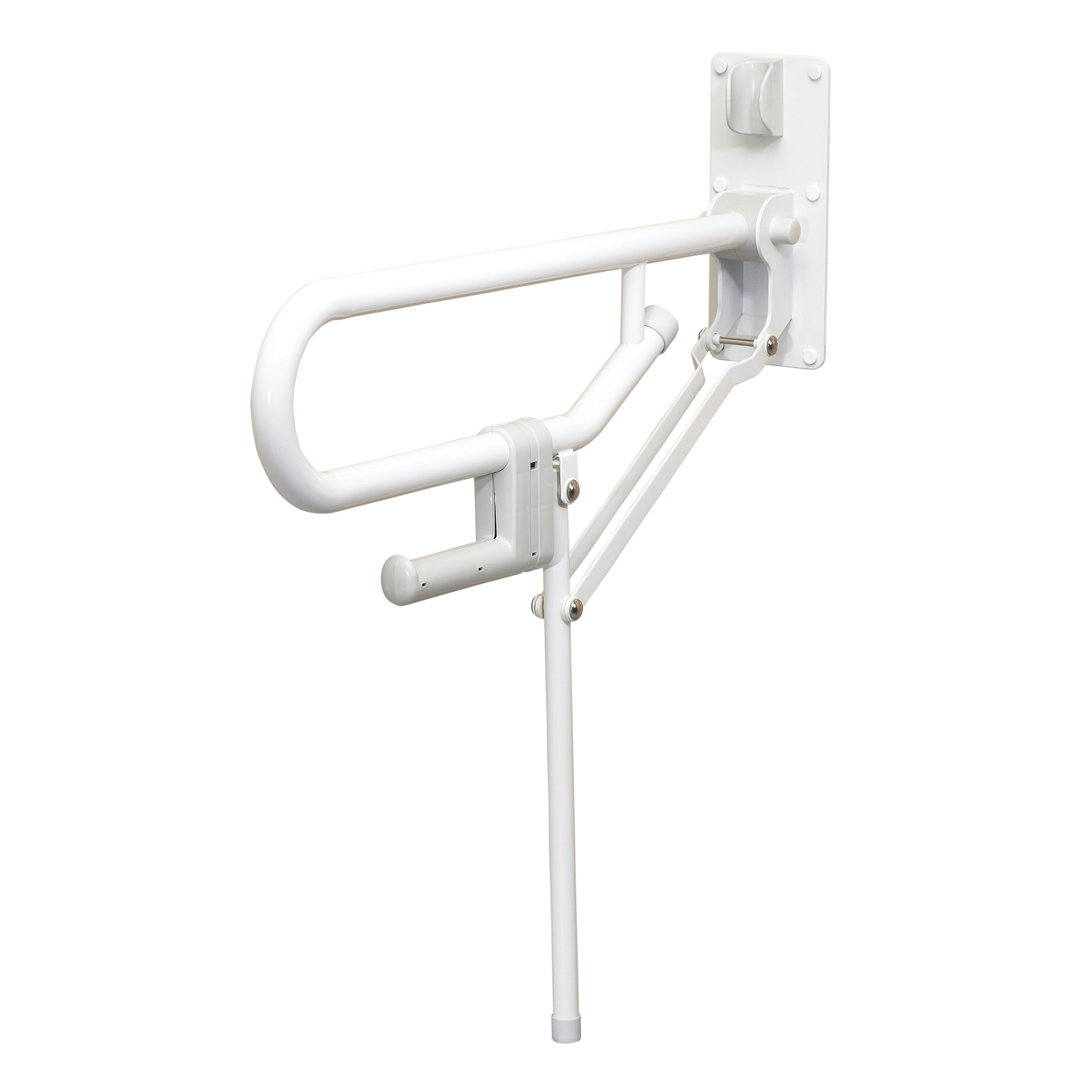 AKW Folding Support Grab Rail With Fixed Leg White