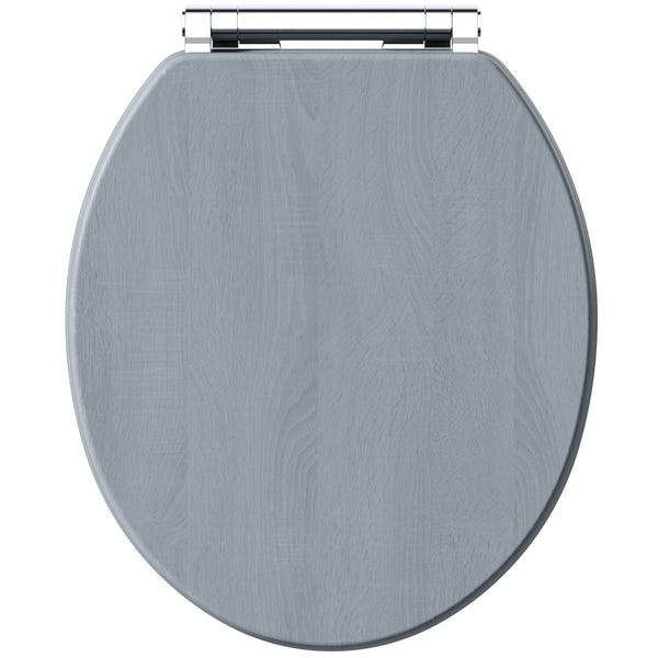 The Bath Co. Beaumont powder blue wooden toilet seat