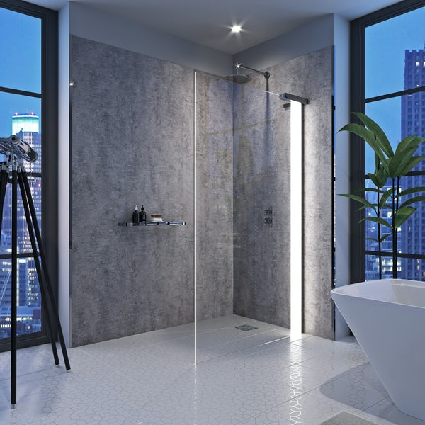 Mode Hale right handed 8mm LED wet room glass panel 800mm