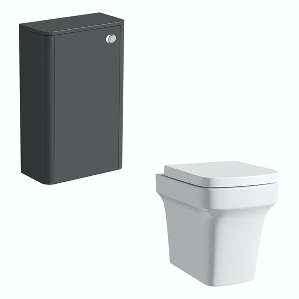 Mode Carter slate gloss grey back to wall unit and toilet with soft close seat