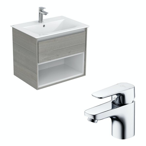 Ideal Standard Concept Air wood light grey and matt white open wall hung vanity unit and basin 600mm with free tap