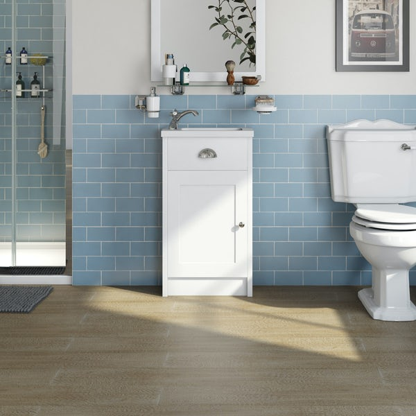 The Bath Co. Dulwich matt white cloakroom floorstanding vanity and basin 460mm