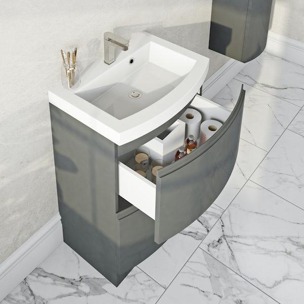 Mode Harrison slate gloss grey furniture package with floorstanding vanity drawer unit 600mm