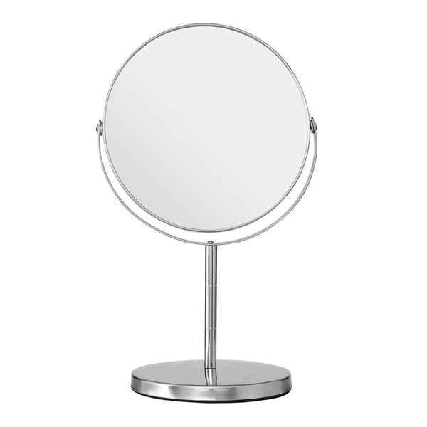 Chrome large freestanding vanity mirror with 2x magnification