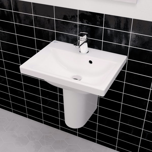 Ideal Standard Concept Space cloakroom suite with semi pedestal basin 500mm