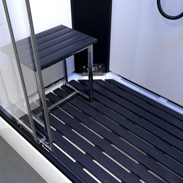 Insignia Monochrome offset left handed steam shower cabin