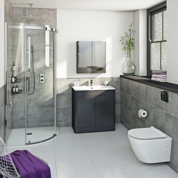SmarTap & Mode complete rimless suite with enclosure, tray, intelligent shower, taps and wastes