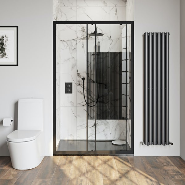 Mode 8mm matt black framed shower door with barcode style modesty panel 1200mm