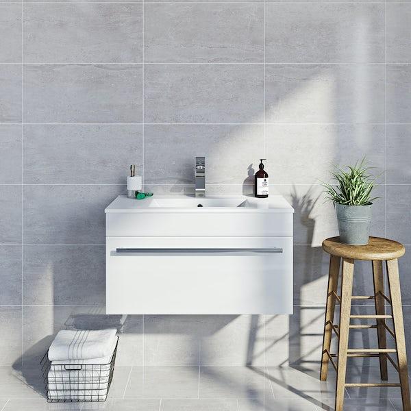 British Ceramic Tile Lux dove grey gloss tile 298mm x 598mm