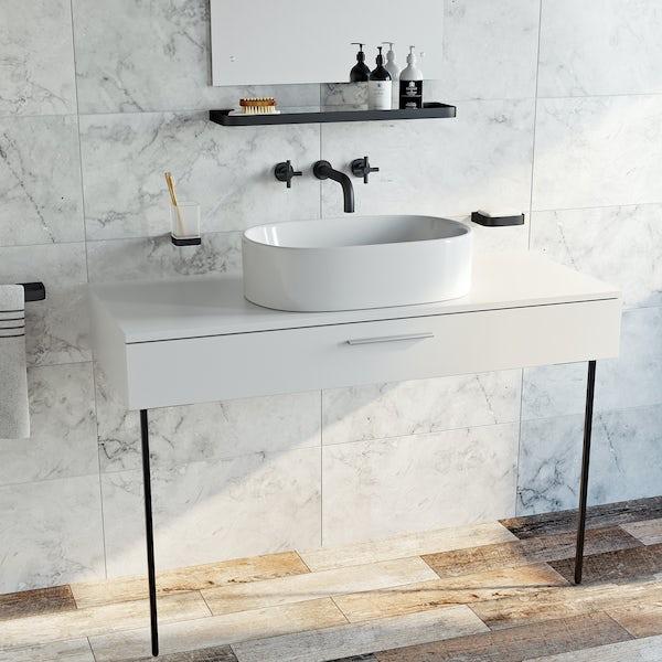 Mode Tate black wall mounted basin mixer tap