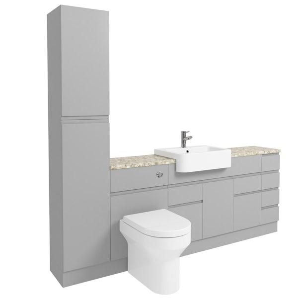 Orchard Wharfe slate matt grey straight medium drawer fitted furniture pack with beige worktop