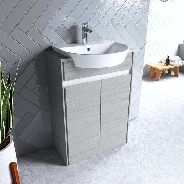 Ideal Standard Concept Air Wood Light Grey And Matt White Vanity Unit And Recessed Basin 600mm Victoriaplum Com