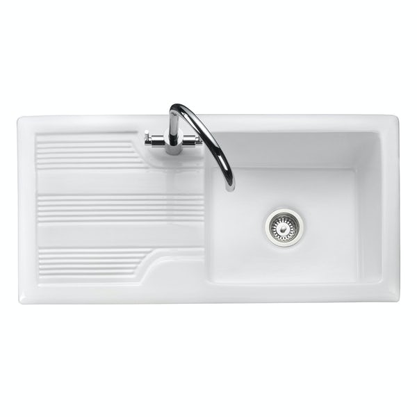 Rangemaster Portland 1.0 bowl reversible white ceramic kitchen sink