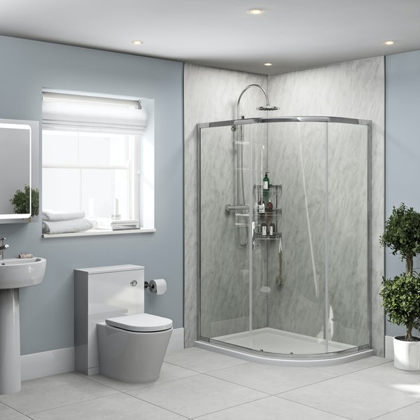 Orchard Grey Marble shower wall panel corner installation pack 1000 x 1000