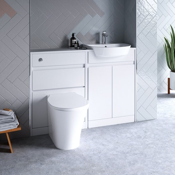 Ideal Standard Concept Air white gloss 1200 combination unit with toilet and seat