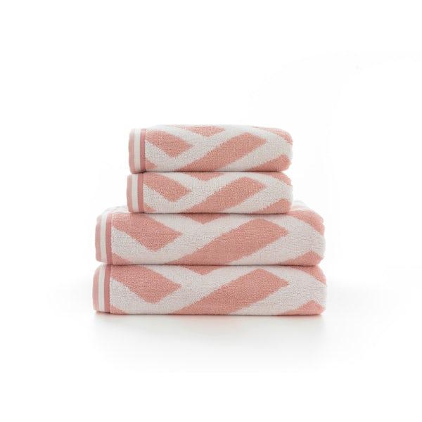 Deyongs Nice 550gsm patterned 4 piece towel bale pink