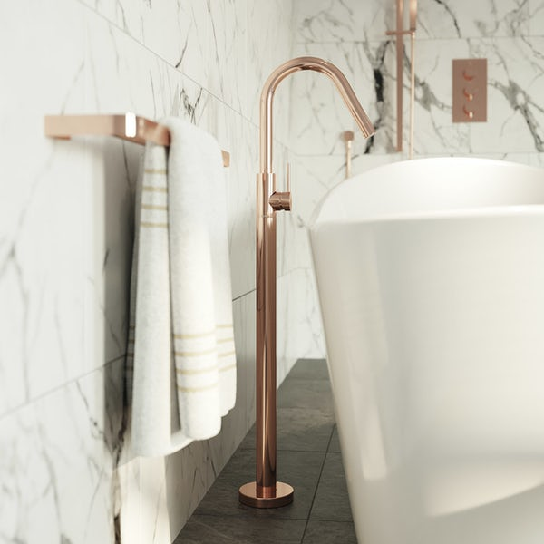 Mode Spencer rose gold freestanding side lever bath filler tap