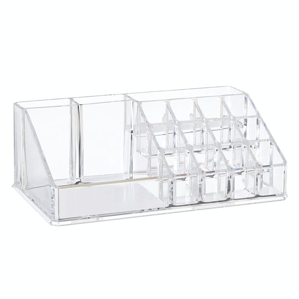 Clear cosmetic organiser with 16 compartments