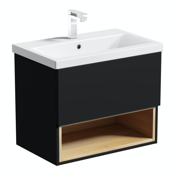 Mode Tate anthracite black & oak wall hung vanity unit with basin 600mm