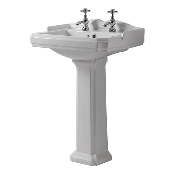 The Bath Co.Winchestercloakroom suite with white seat and full pedestal basin 600mm with tap and waste