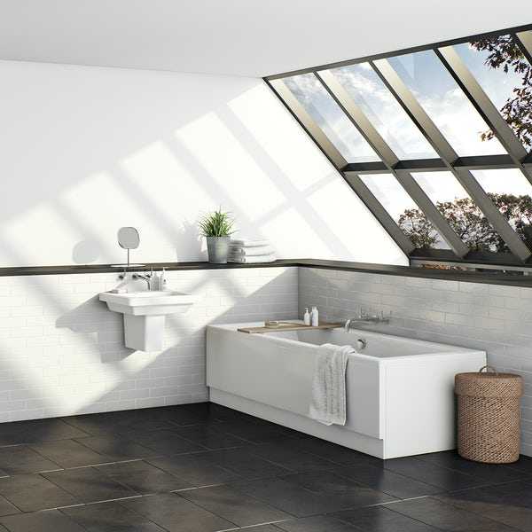 Orchard square edge double ended bath 1700 x 700 with acrylic front panel
