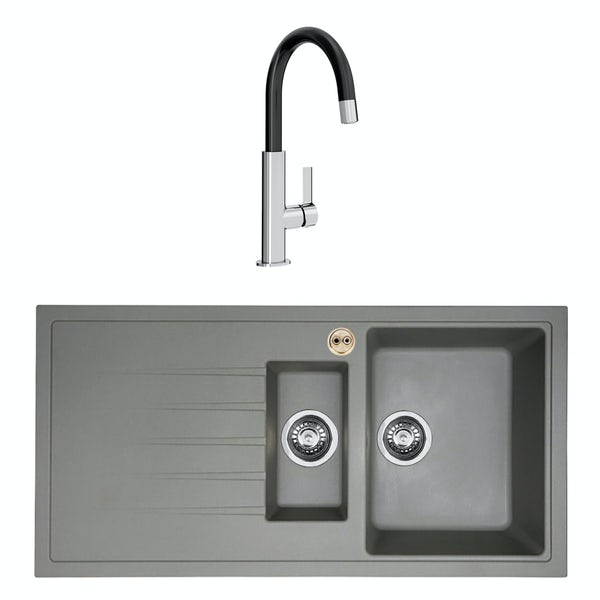 Bristan Gallery quartz left handed dawn grey easyfit 1.5 bowl kitchen sink with Melba black tap
