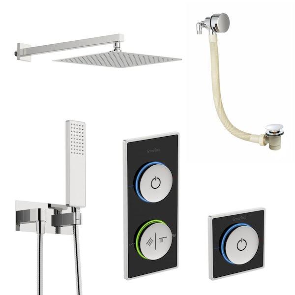 SmarTap black smart shower system with complete square wall shower outlet bath set