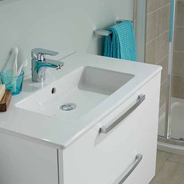 Ideal Standard Tempo gloss white wall hung vanity and basin 600mm