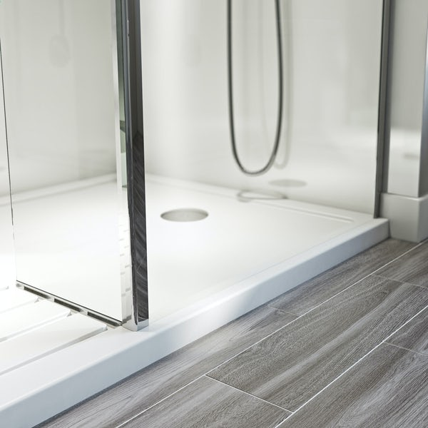 Orchard 6mm walk in glass panel pack with fixed return panel and walk in shower tray