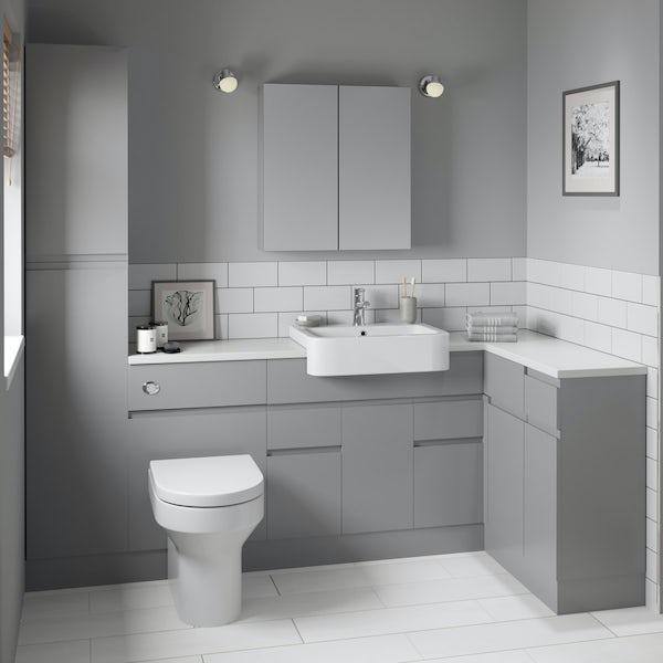 Orchard Wharfe slate grey corner medium storage fitted furniture pack with white worktop