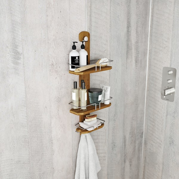 Accents Bamboo hook over shower caddy