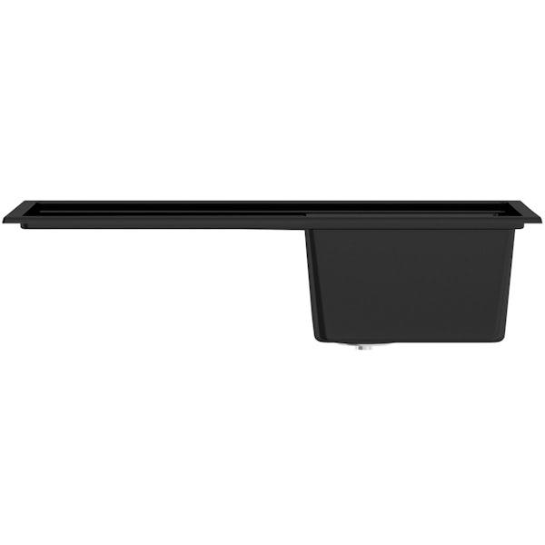 Schon Windermere universal compact 1.0 deep bowl black granite kitchen sink with waste