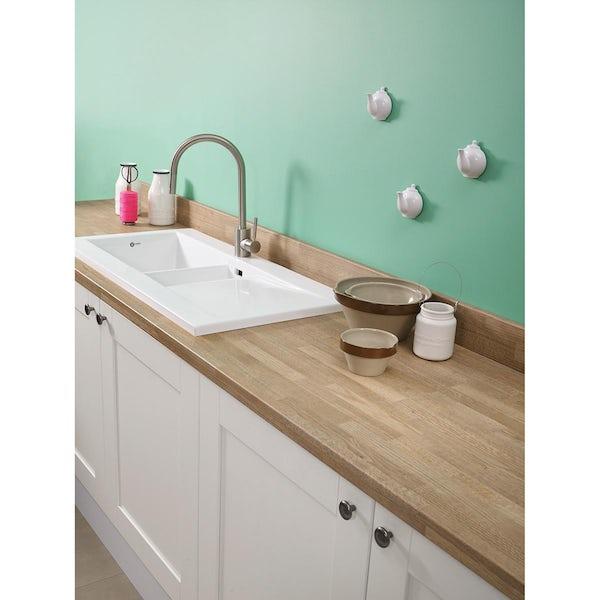 Bushboard Omega Natural blocked oak kitchen worktop