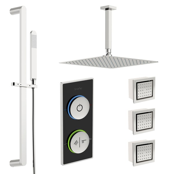 SmarTap black smart shower system with complete square ceiling shower set