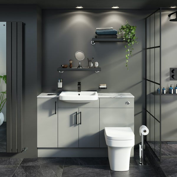 Reeves Wyatt light grey small fitted furniture combination with white marble worktop