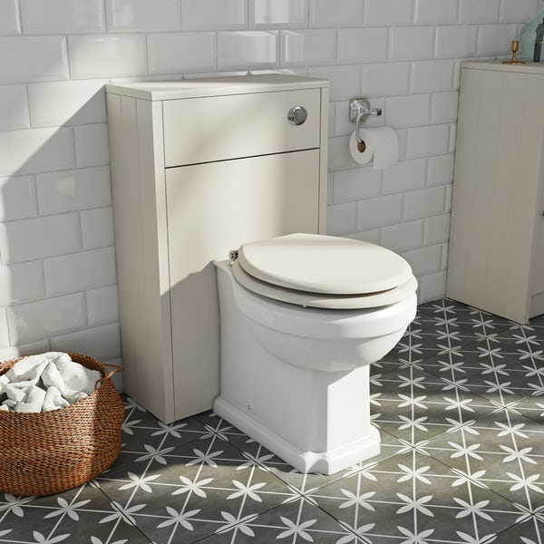 The Bath Co. Dulwich stone ivory slimline back to wall unit and toilet with ivory wooden seat