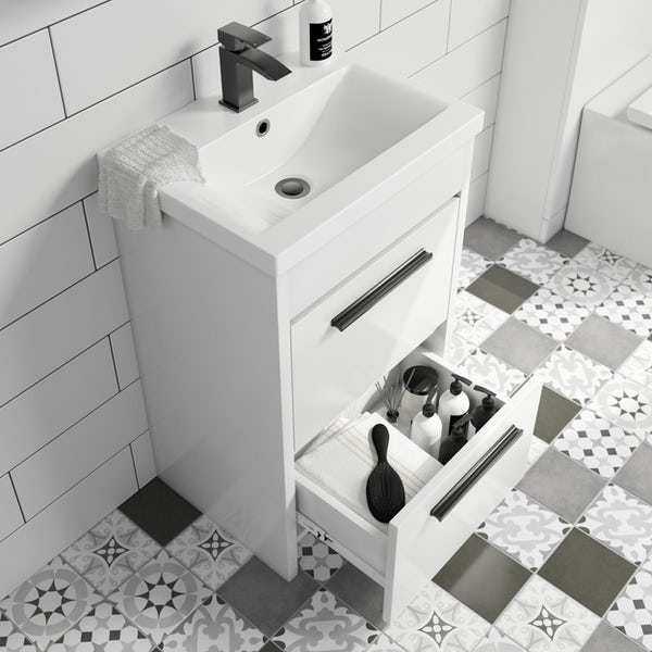 Clarity white floorstanding vanity unit with ceramic basin 510mm with tap and black handles