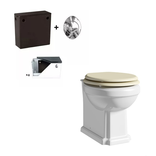 The Bath Co. Camberley back to wall toilet with Ivory soft close seat and concealed cistern