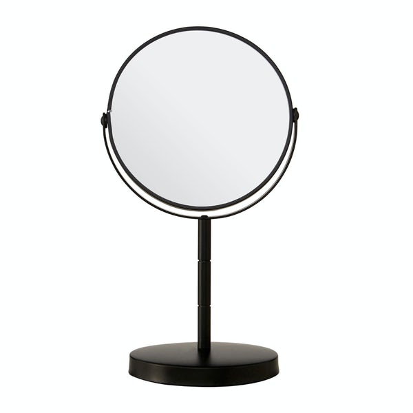 Black small freestanding vanity mirror with 2x magnification